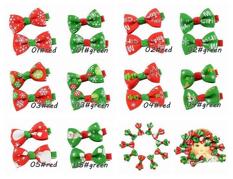 20Pcs 2 Inch Christmas Style Ribbon Bows Clip Baby Girls Handmade Hair Clip Hairpin Christmas Ornaments Beautiful HuiLin C129