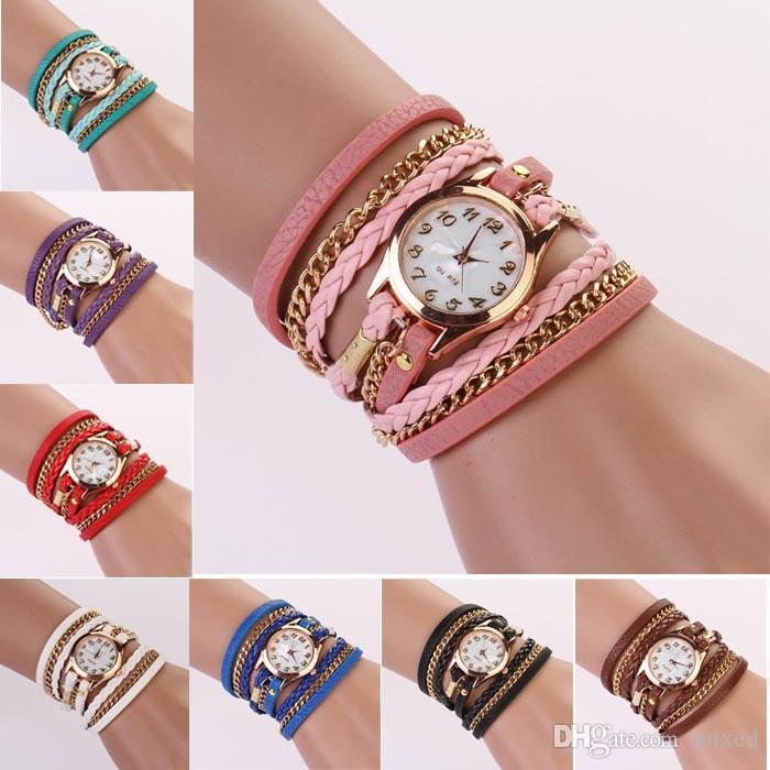 Мода женские часы Кожаный ремешок плетеный обмотки заклепки браслет часы Наручные часы женщины платье часы