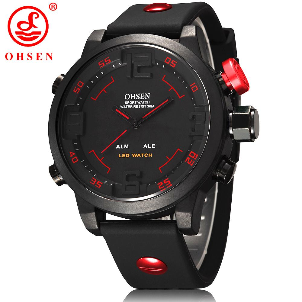 OHSEN Led Digital Watch Analog Quartz Watch Sports Watches Men Waterproof Relogio Masculino New Fashion Casual wristwatches Wholesale