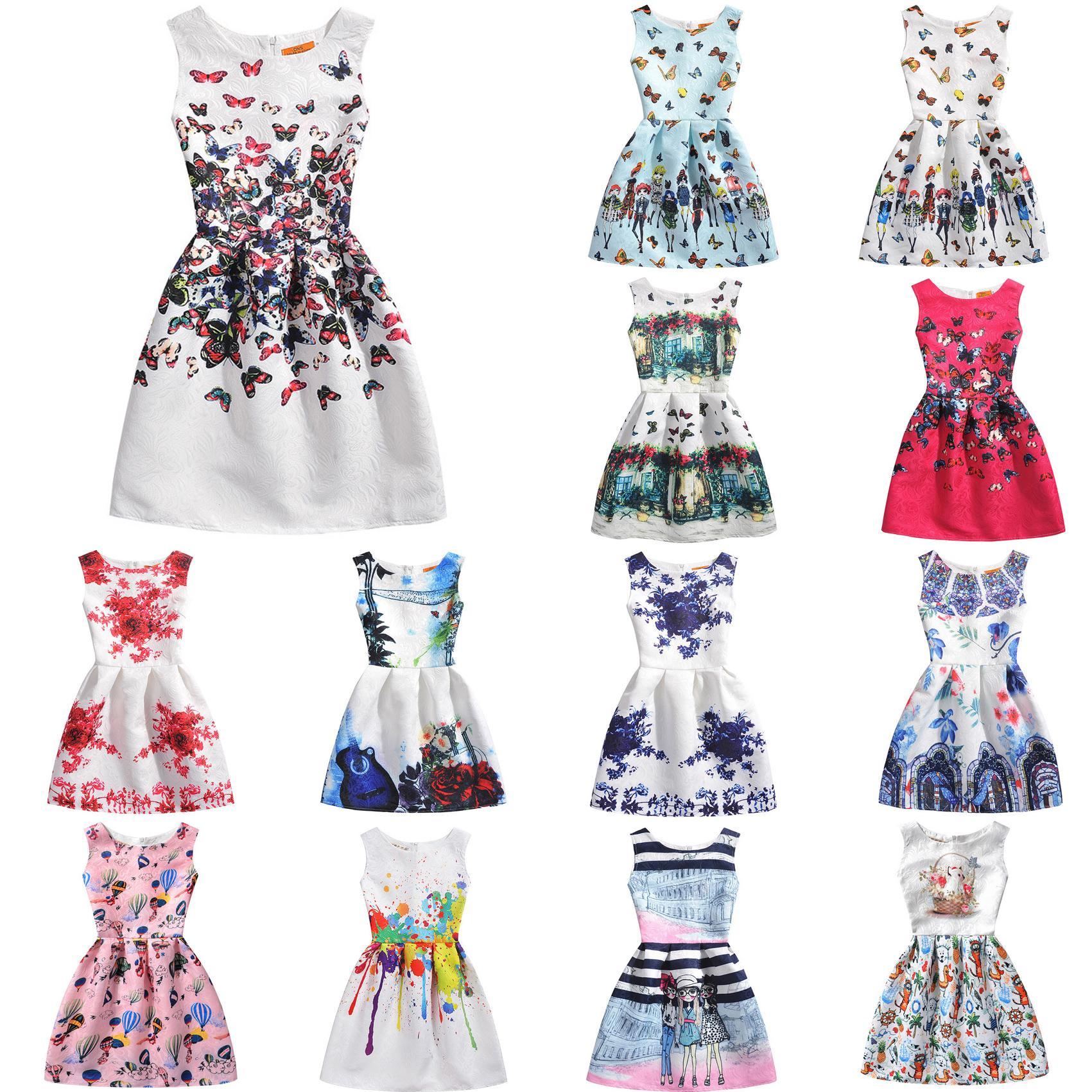 Kolsuz Diz Boyu Elbiseler Kore Tarzı Genç Kız Moda Örgün Parti Çiçek Yaz Elbise 16122101