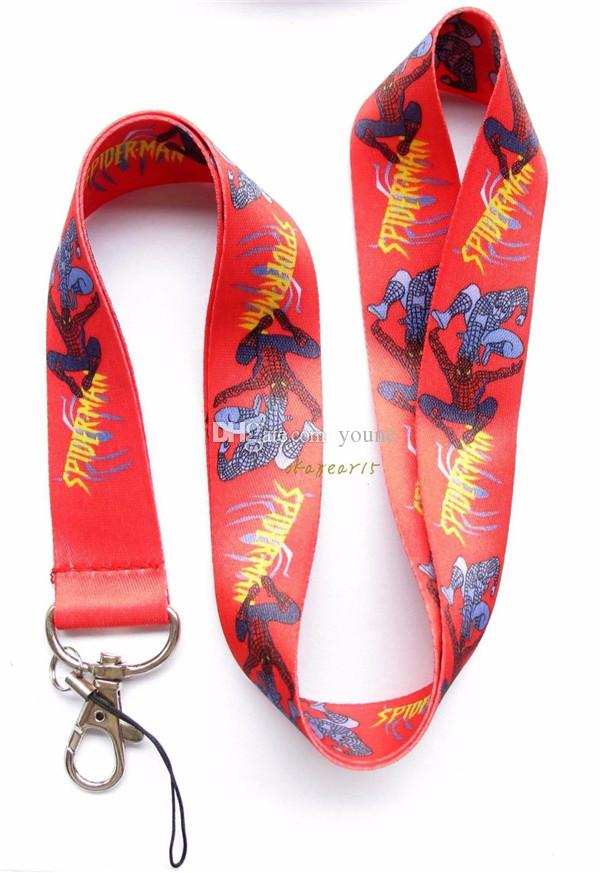Hot sale ! New 20 pcs Cartoon Red Spiderman Lanyard with Lobster Clasp Fit Key ID Mobile Cell Phone Key chain