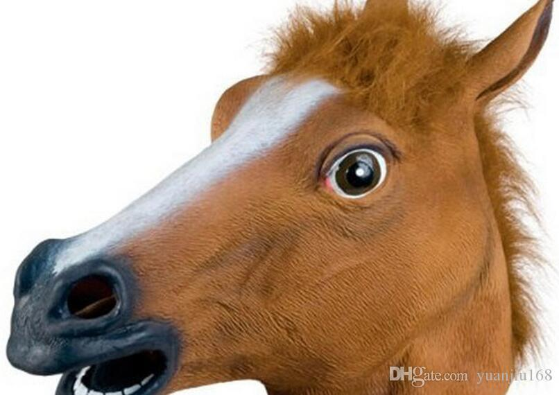 2017 new Creepy Horse Mask Head Halloween Costume Theater Prop Novelty Latex Rubber free shipping