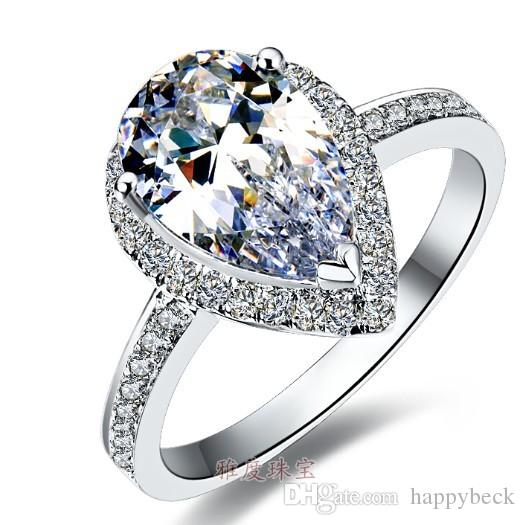 3Ct Pear Cut Synthetic Diamond Wedding Female Ring Solid 925 Sterling Silver Annivesary Gift Brilliant Forever Jewelry