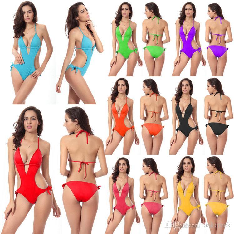più il grande donne di un pezzo bikini sexy senza schienale costume da bagno con il rilievo del reggiseno titolare reggiseno 8 colori S-2XL