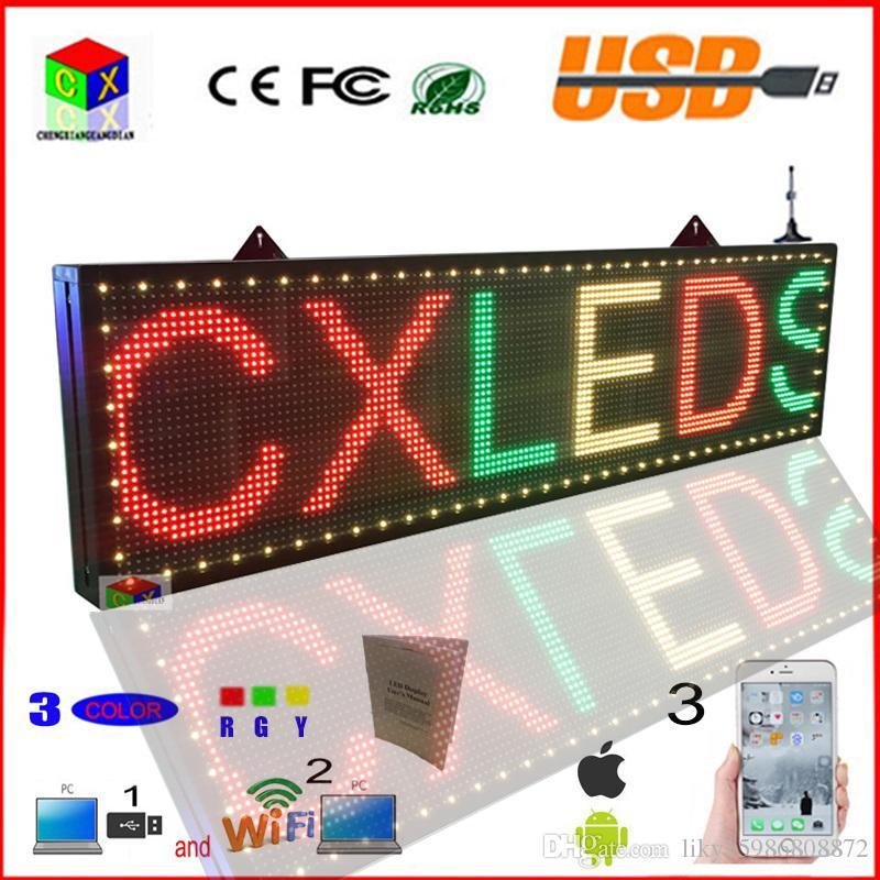LED signe 3 couleur 78x11 pouces RGY wifi programmable Ecran LED Scrolling intérieur message Ouvrir panneau