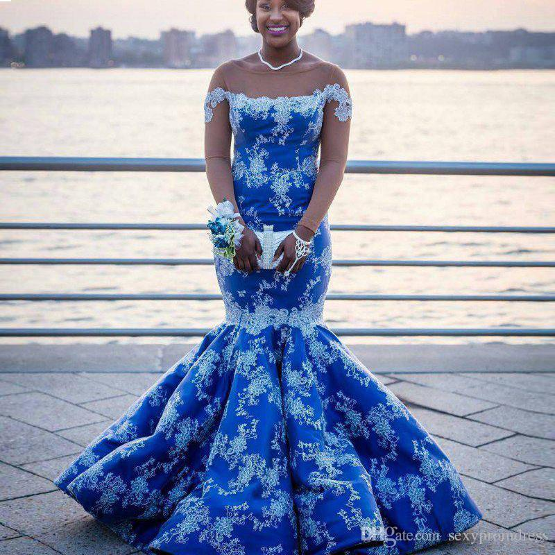 Royal Blue Plus Size Mermaid Prom Dresses Lace Appliques Nude Long Sleeves  Evening Gowns Satin Floor Length South African Formal Wear Backless Prom ...
