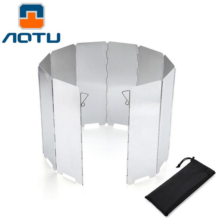 Wholesale-AOTU 10 Plates Outdoor Aluminum Portable Foldable Stove Cooker Camping Picnic Windshield Winderscreen Wind Deflector