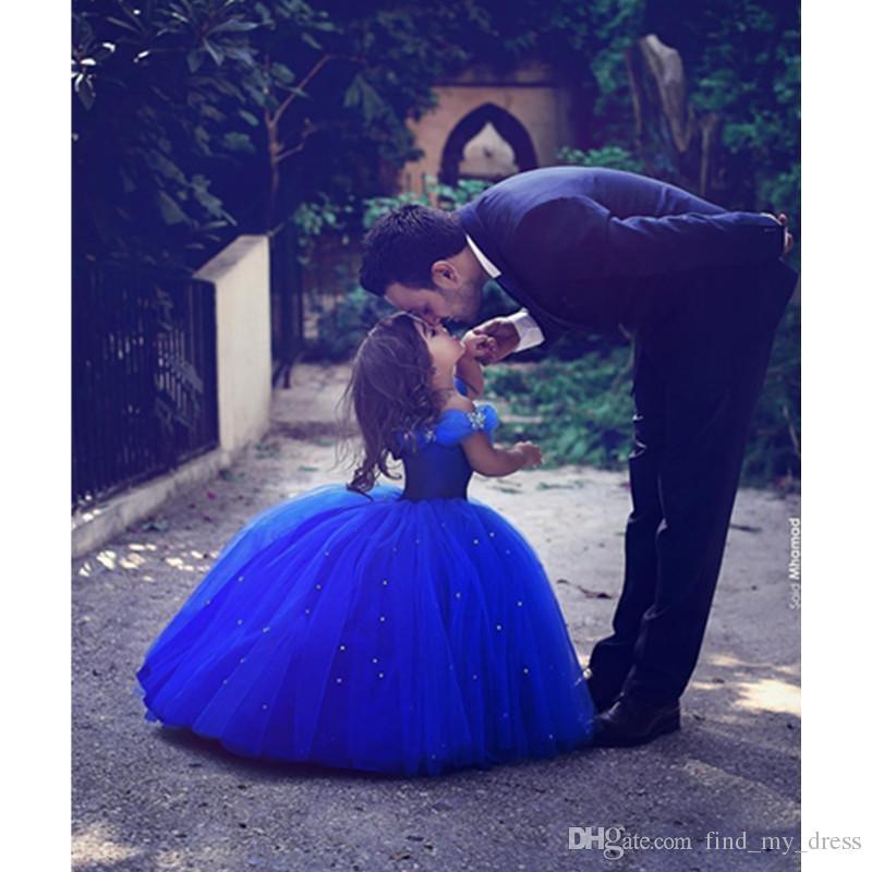 جديد الأزرق الملكي زهرة البنات اللباس الأميرة الكرة ثوب الخرز مطوي تول الطابق طول الفتيات حفلة عيد مخصص جميل المسابقة