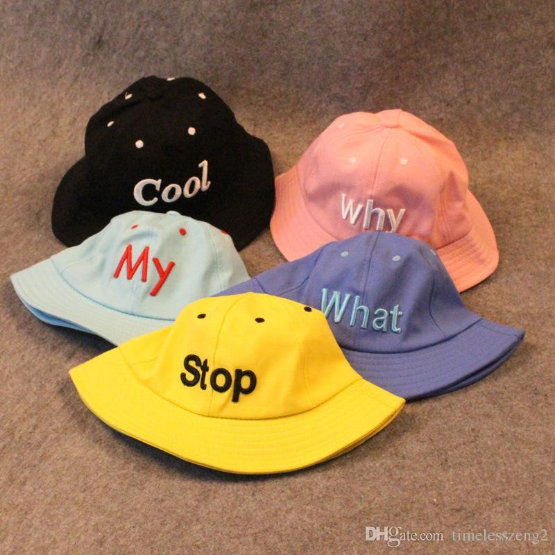 جديد مطرز رسالة WHY COOL الخ 5 أنواع من القبعات دلو أضعاف قبعات واقية من الشمس الصياد دلو القبعات Casquette