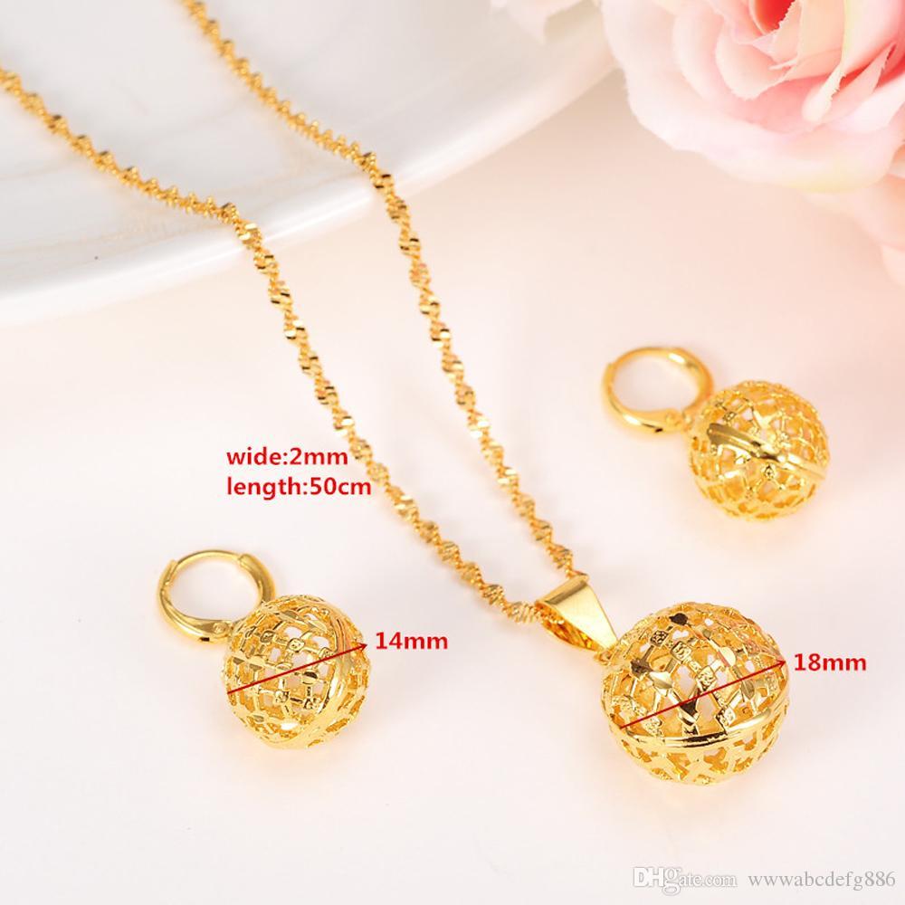 Collana con ciondoli a sfera rotonda Collana con orecchini a catena Set di gioielli in oro 24K giallo fine con perle GF per collane