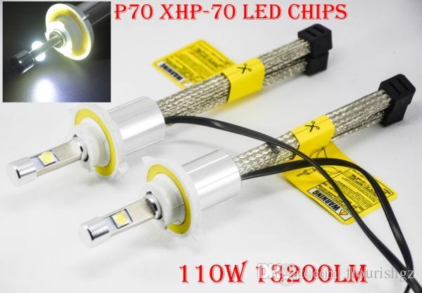 1 satz 110 watt 13200lm p70 auto led scheinwerfer kit xhp-70 4 led chips super helle schlanke umwandlung lüfterlose gürtel dissipation h4 h7 h8 h9 h11 9012