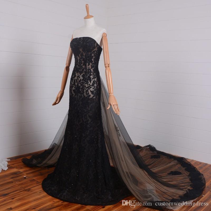 Vraies photos noir dentelle longues robes de bal nouveau design perles mariages 2018 chaud sexy robe de soirée bustier amovible train