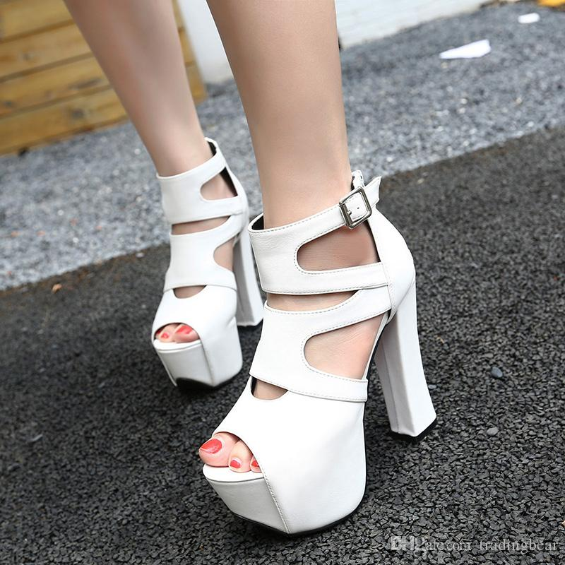 Highly Recommend Sexy Black White Animal Print With Buckle High Platform Chunky Heel Open Toe Bootie Shoes