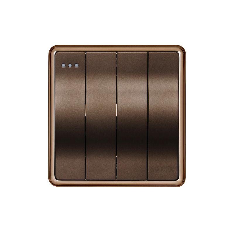 Interruptor de pared de superficie de 4 vías de color marrón de 1 vía e interruptor de luz 10A e interruptor de botón