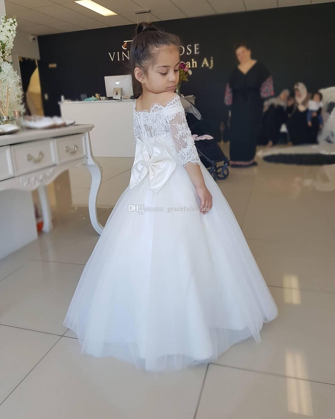 Kids White Flower Girl Dress First Communion Baptism Little Girl Princess Gown