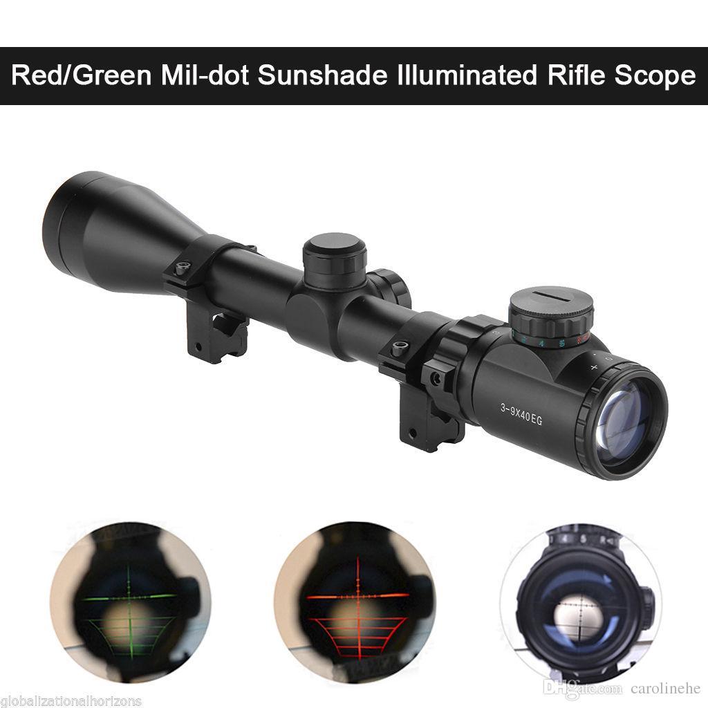 3-9x40 EG RedGreen Illuminated Air Rifle Optics Scharfschütze-Zielfernrohr mit Paarhalterung