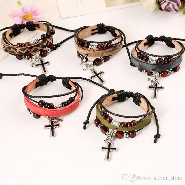 Good A++ Beaded cross leather leather bracelet burst leather bracelet FB057 mix order 20 pieces a lot Charm Bracelets
