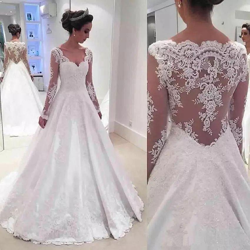 Пользовательские V-образным вырезом Длинные рукава Кружева Свадебные платья 2020 с аппликациями Hollow Назад Sweep Поезд Свадебные Платья