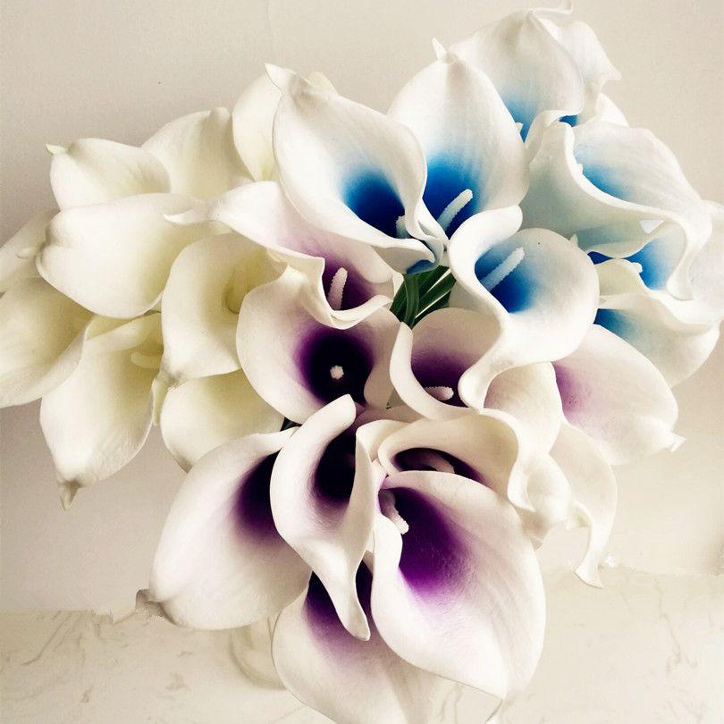 """Gerçek Dokunmatik Callas 108 P 35 CM / 13.78 """"Yapay Çiçekler Calla Lilyum PU Çiçek Beyaz / Siyah / Mercan / Mor Için DIY Gelin Buket Düğün Malzemeleri"""