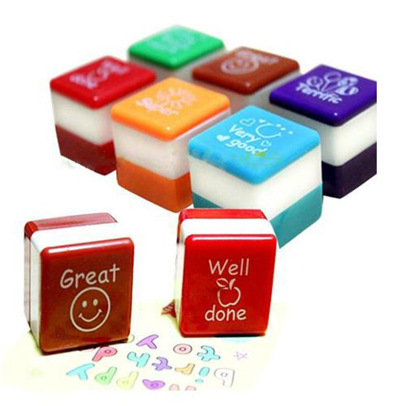 Wholesale- 1PCS Colorful School Mini Teachers Stamper Self Inking Praise Reward Stamps Motivation Sticker Kids Office Stationery