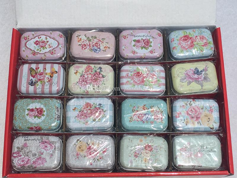 Free shipping flowers design series Storage Jewelry Decorative Tin Box Lids Candy Earphone Ring Christmas Wedding Gifts Boxes
