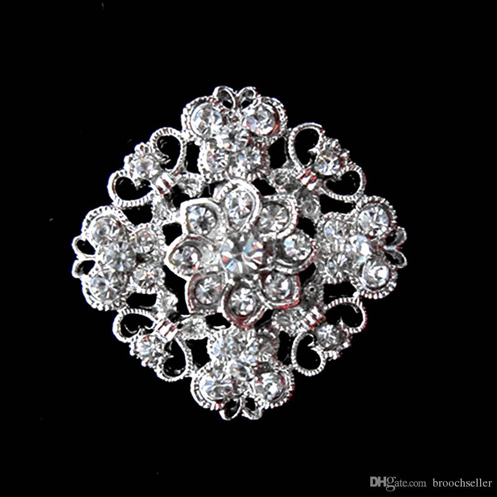 Aleación de plata plateada y broche de cristal de diamantes de imitación de metal