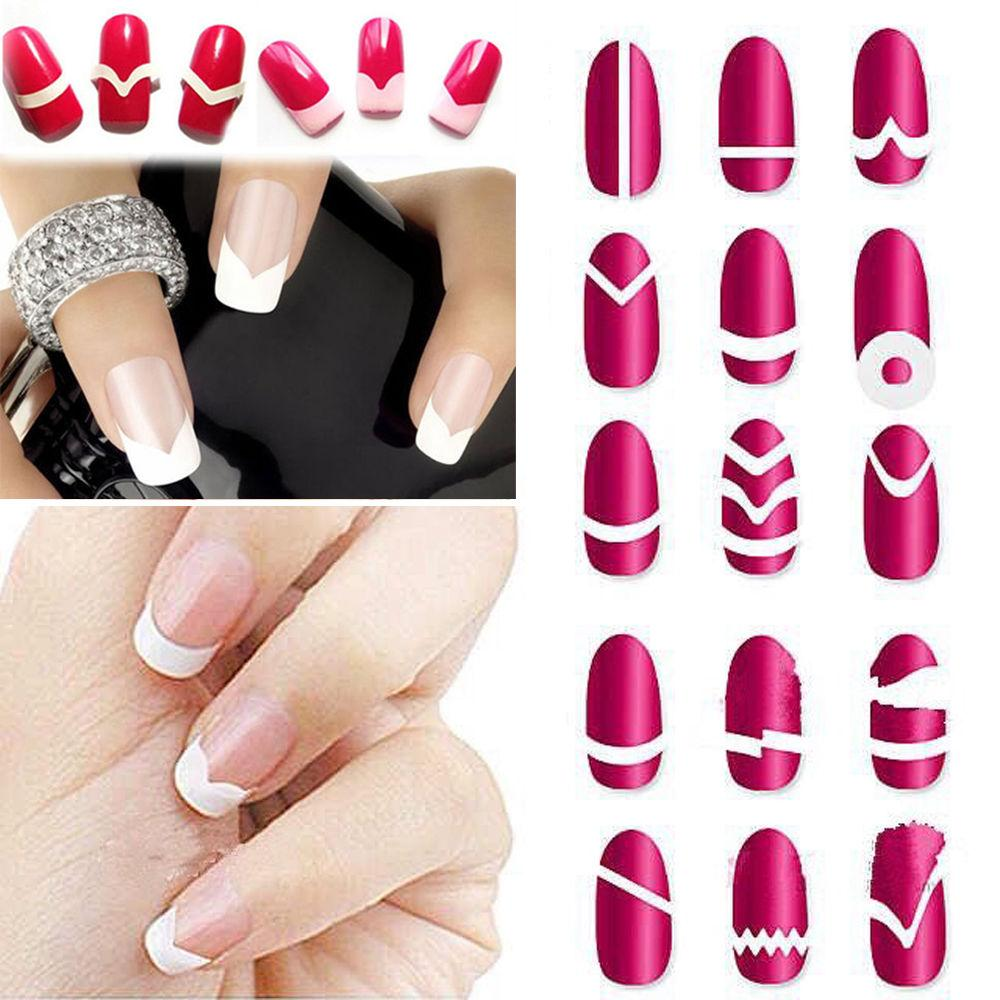 Wholesale-18Pc/Set Random Type!! Fashion DIY French Manicure Form Nail Art Tips Tape Stickers Guide Stencil Decoration