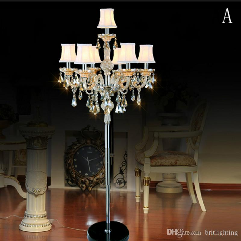 Yatak odası oturma odası çalışma kristal zemin lambaları K9 mum lamba villa yemek odası culb zemin ışıkları otel lobisinde kristal zemin lambası