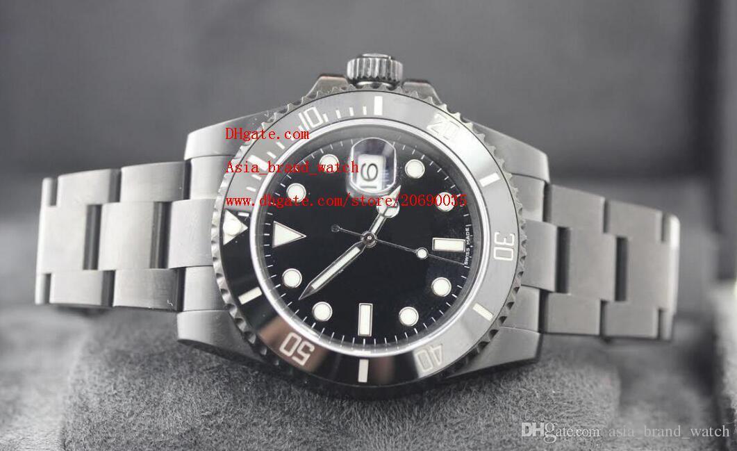 Zafiro de lujo 1166100 Reloj de cerámica negro PVD negro 40mm Mecánico automático Movimiento Asia 2813 Relojes para hombre Reloj para hombre