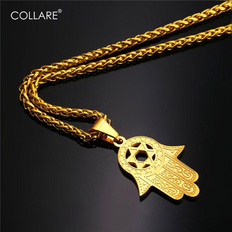Collare فاطمة همسة اليد قلادة لون الذهب الفولاذ المقاوم للصدأ مجوهرات ماجن ديفيد ستار زينة العرقية تركيا قلادة P291