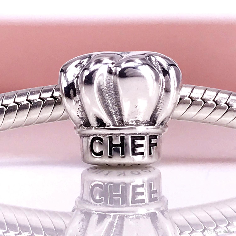 Аутентичные Стерлингового Серебра 925 Шеф-повара шляпа серебряный шарм Fit DIY Пандора Браслет И Ожерелье 791500
