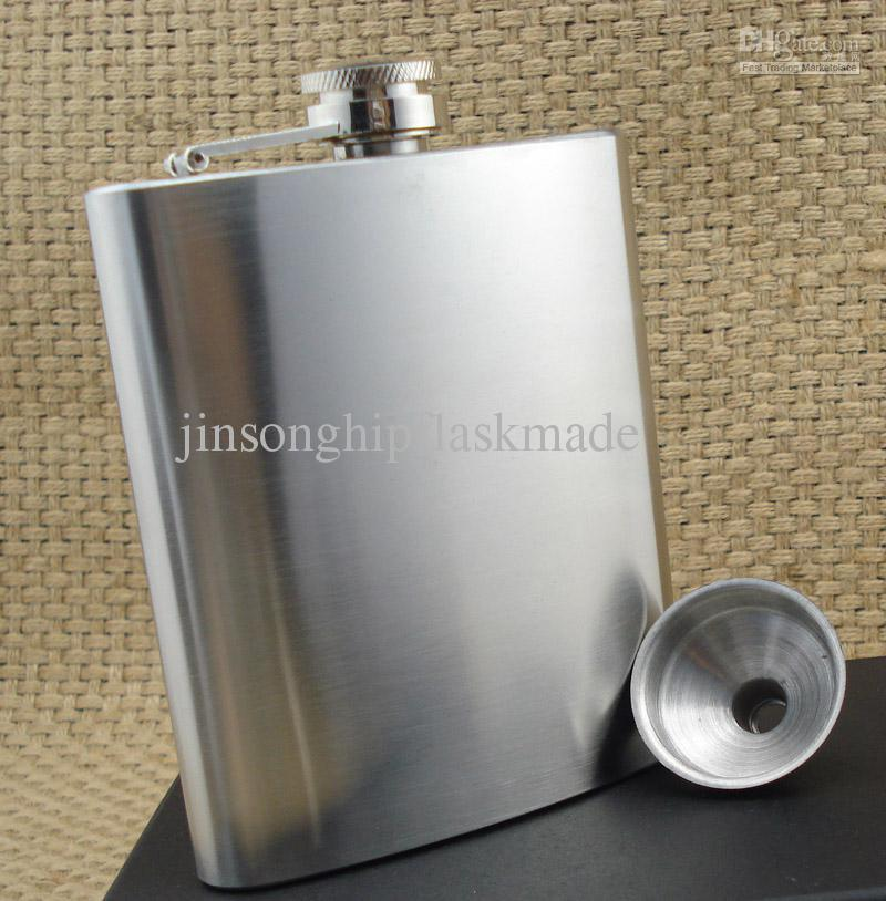6 ounce stainless steel flask with free funnel ,brushed flask
