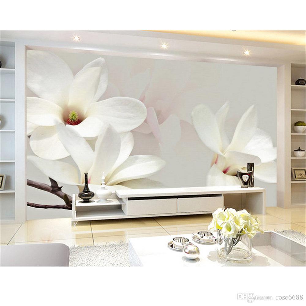 Modern Living Room Wallpapers White 3d Flower Custom Wallpaper ...