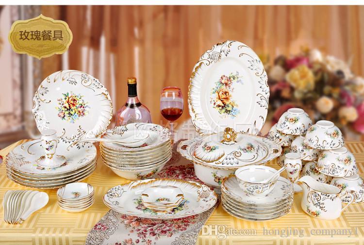 Juegos de vajilla de porcelana de hueso 70pcs respetuosos con el medio ambiente de cerámica Flor de borde dorado Cocina Comedor Bar Hogar Jardín Tazón Juegos de placas
