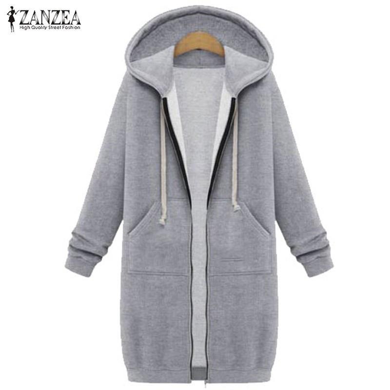 Toptan- Boy 2017 sonbahar zanzea kadınlar rahat uzun hoodies kazak ceket cepler zip up giyim kapüşonlu ceket artı boyutu üstleri