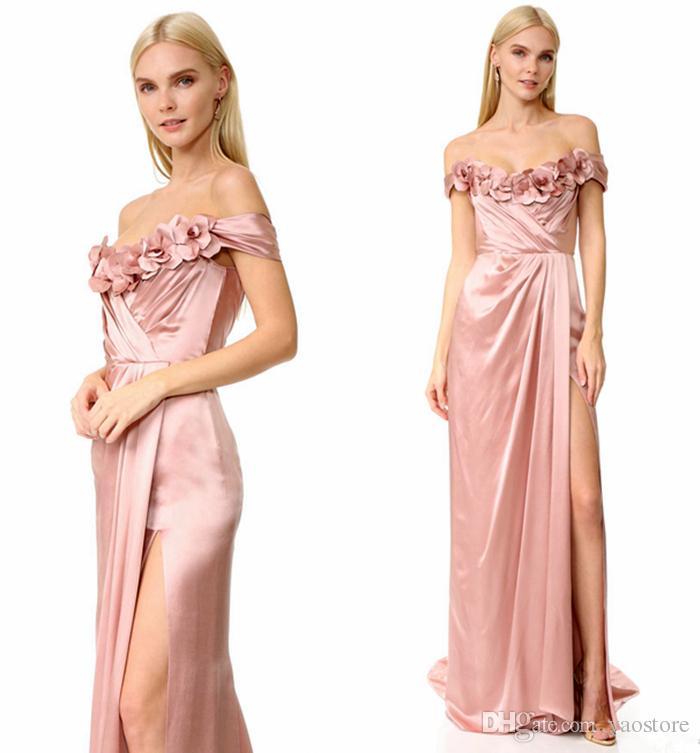 Charming Blush Off Shoulder Long Bridesmaid Dresses High Slits 3d ...