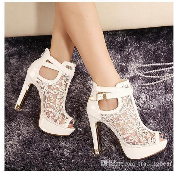 New buld silk lace wedding boots white bridal pumps thick heel pink bride shoes 3 colors size 34 to 39 WX