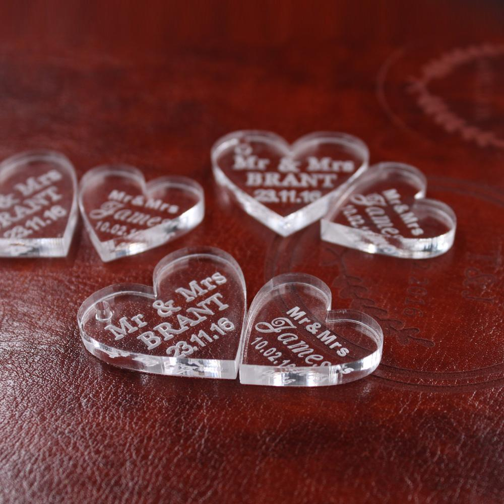 NewWholesale-50 pcs Personalizado Coração de cristal Coração Personalizado MR MRS Amor Coração lembranças de Casamento Decoração de Mesa Centros de Mesa Favores e Presentes