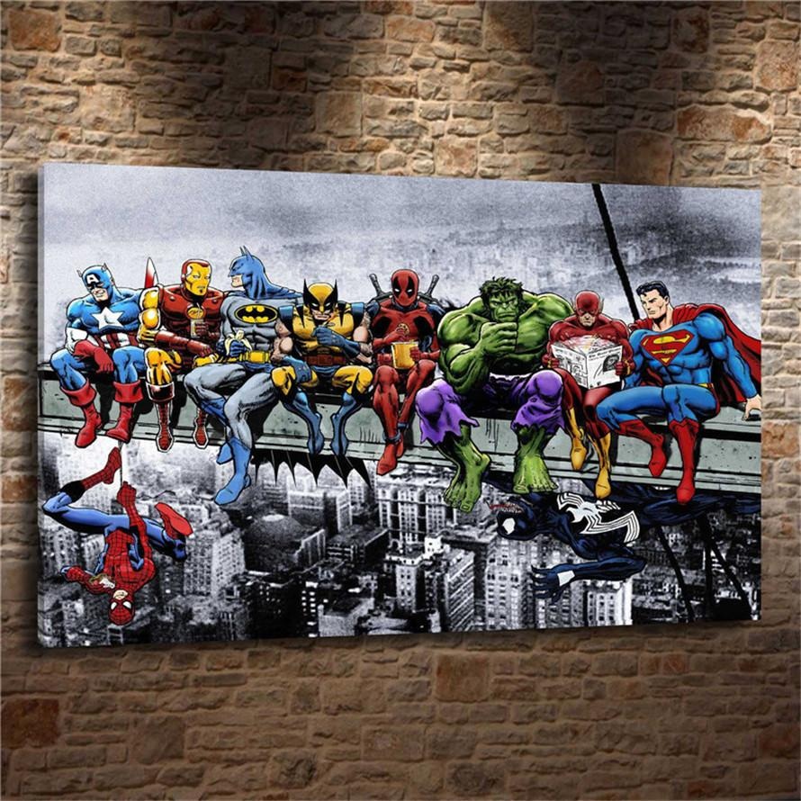 MARVEL SUPERHEROES ON A BEAM,HD print art home painting on canvas//with frame