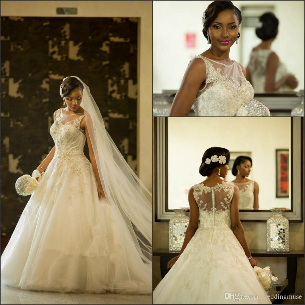 2021 Vestios de mariage Superbes robes de mariée Sheer Crew col South African Dentelle Appliques Robes De Mariage Arabe Dubaï avec bouton Retour