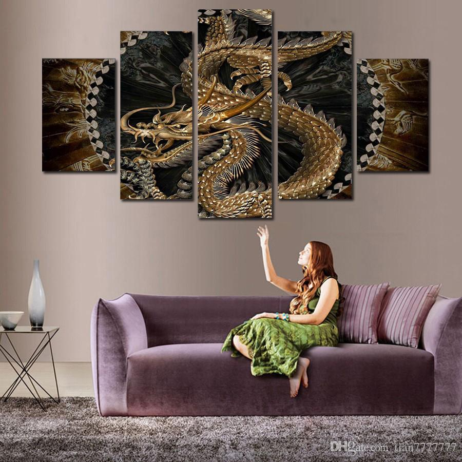 Animal Dragon Canvas Painting Wall art Digital printing picture for room decor 5 Panel No Frame Drop shipping