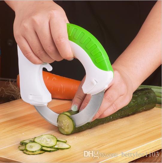 Rundes Multifunktions-Küchenmesser Küchenaccessoires Gemüseschneider Rundes scharfes Messer Easy Cutter Gemüse-Werkzeuge