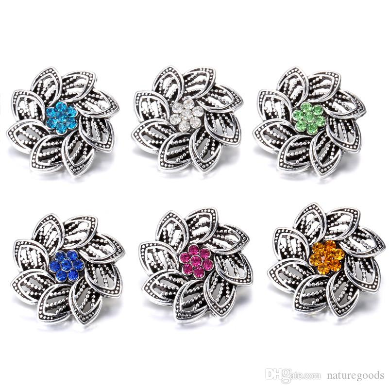 Yapış Takı Yüksek Kalite Vintage Rhinestone Çiçekler kadınlar için 18mm Yapış fit Yapış bilezik Düğmesi