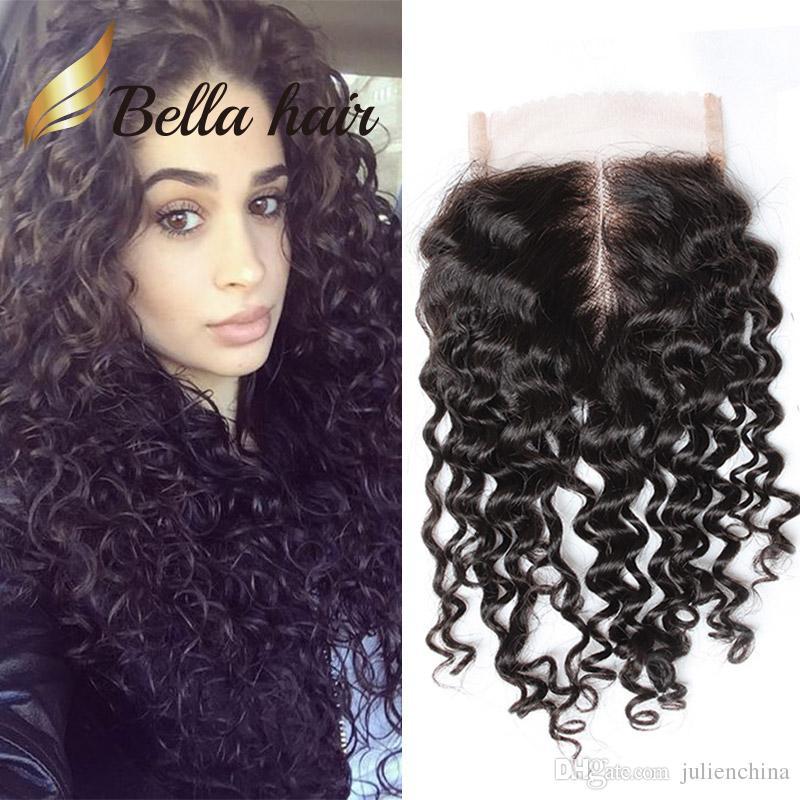 Brasiliansk Virgin Human Water Wave Swiss Lace Closure med Baby Hair Natural Black Wet och Wavy 4x4