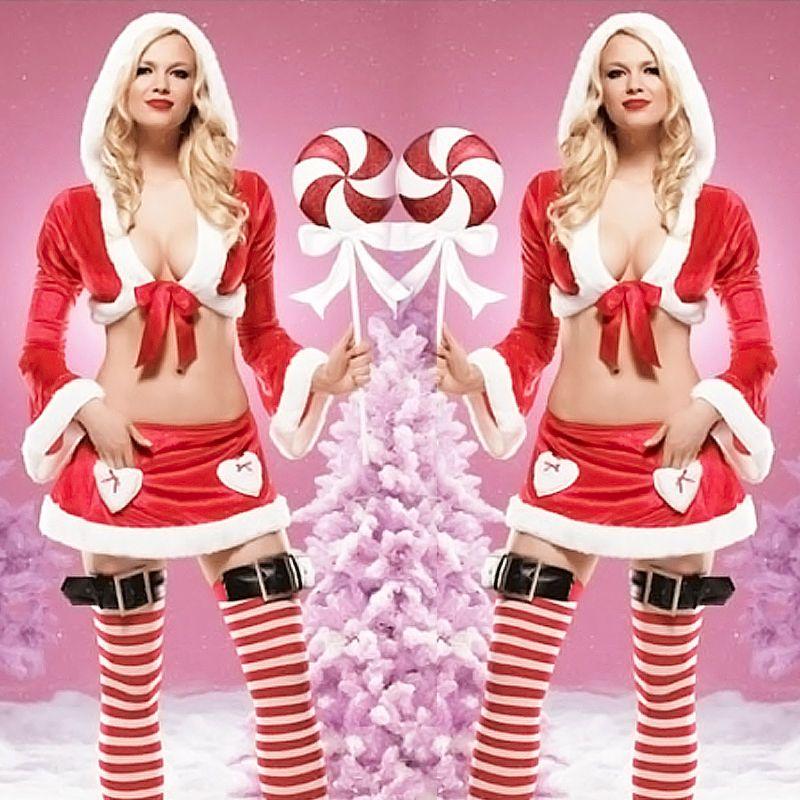 الشحن مجانا!! سانتا الرأس مثير طويلة الأكمام فستان زواج عيد الميلاد زي عيد الميلاد مثير مع تنورة صغيرة 2722