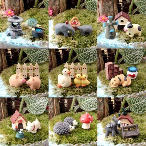 Set di 3x Animal 2017 Vendita superiore FAI DA TE Fairy Garden Ornamento In Resina Miniatura Figurine Artigianato Vaso Decor AL3310