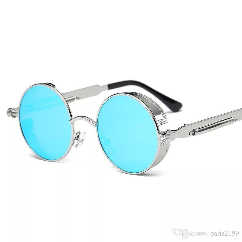 all'ingrosso donna calda uomo Gothic Steampunk Mens occhiali da sole rivestimento occhiali da sole a specchio Round Circle occhiali da sole Retro Vintage