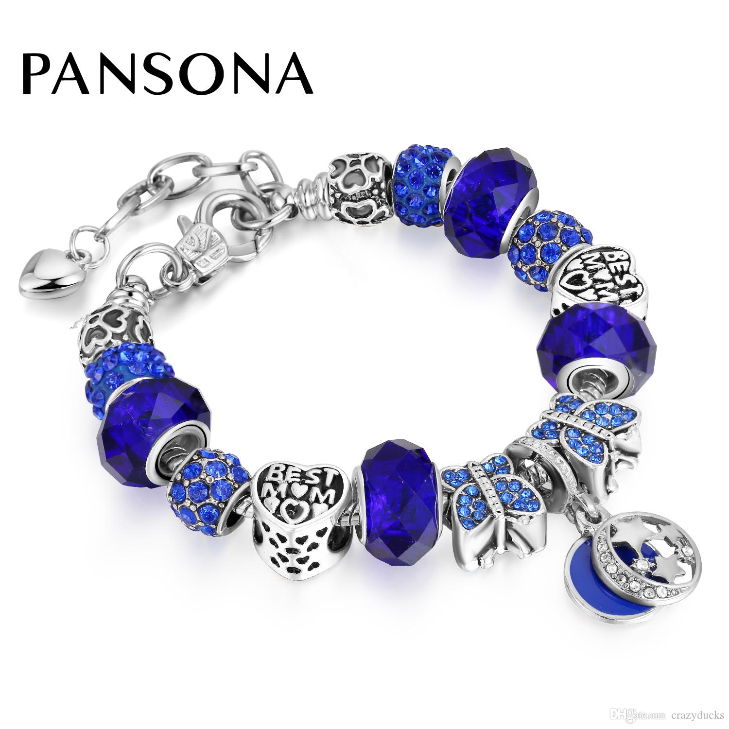 Fashion Jewelry Butterfly Blue Charm Bracelets & Bangles For Women Antique Silver Crystal Star Beads Bracelet AA159