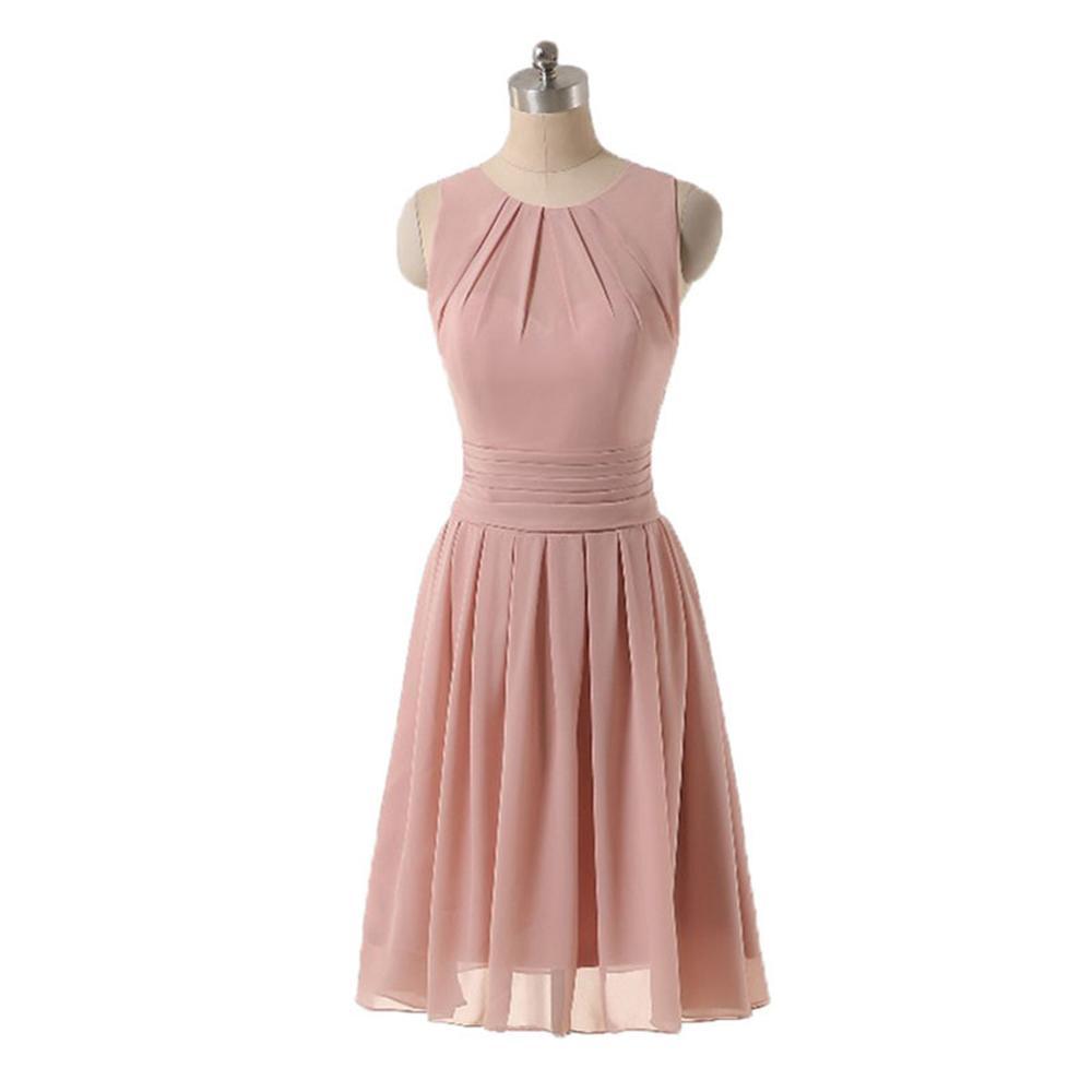 Blush rosa abiti da damigella d'onore 2018 breve chiffon da sposa guest party abiti mini gioiello collo increspato abito semplice per ragazze foto reale