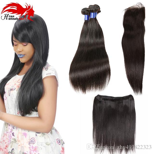 Brasilianisches Reines Haar Gerade mit Verschluss Menschliche Haarwebart 3 Bundles mit Verschluss Brasilianisches Gerades Haar mit Verschluss